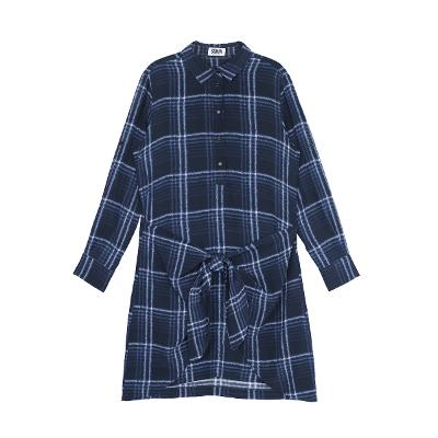 check pattern riboon shirts dress blue