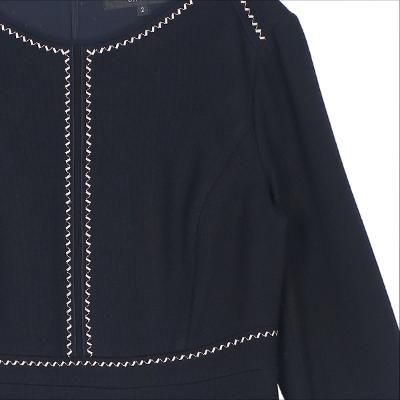 zigzag stitch flare dress dark navy