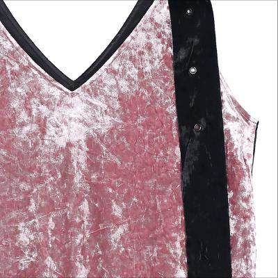 v neck velvet sleeveless dress black
