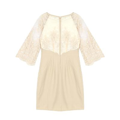 lace sleeve dress beige
