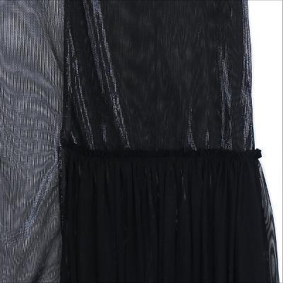 mesh unbalance pleats detail dress black1