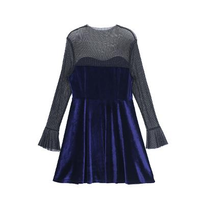 see through sholder dress blue