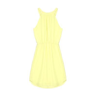 halter string dress yellow