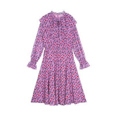 frill floral dress purple