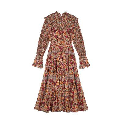 lace point floral dress red