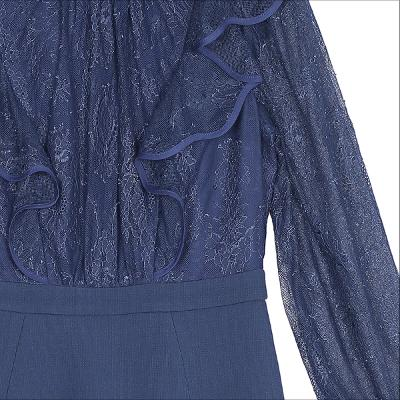 ruffle detail lace dress navy