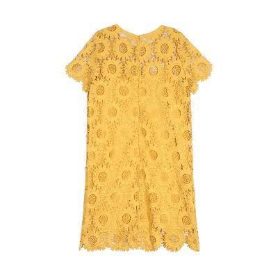 floral pattern lace dress yellow