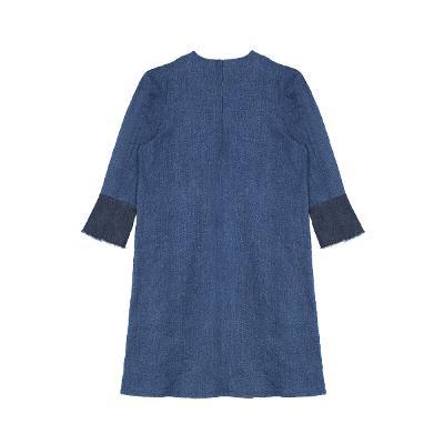 dark color mix denim dress blue