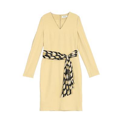 geometric pattern belt v neck dress yellow