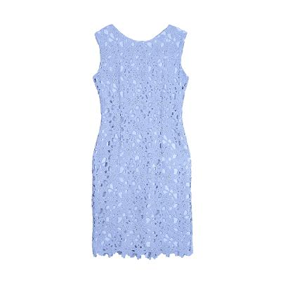 lace sleeveless dress pastel blue