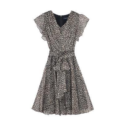leopard pattern frill sleeve dress