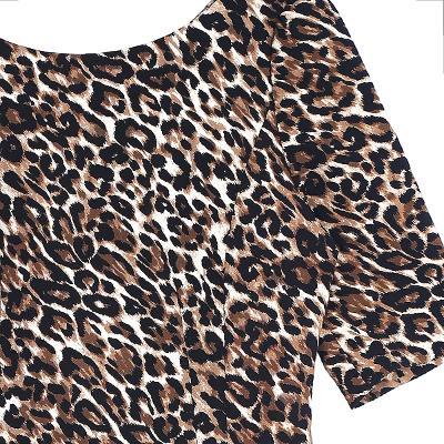 leopard pattern half sleeve dress