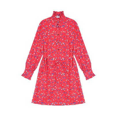 frill neck floral pattern dress red