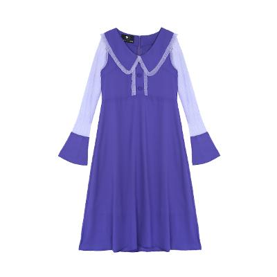 satin collar dress purple
