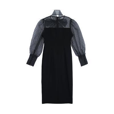 organza ribbon point dress black