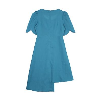 wave shape sleeve unbalance dress skyblue