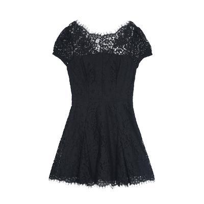 lace flare mini dress black