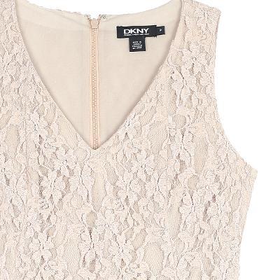 lace sleeveless v neck dress beige