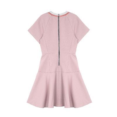 raglan half sleeve flare dress pink