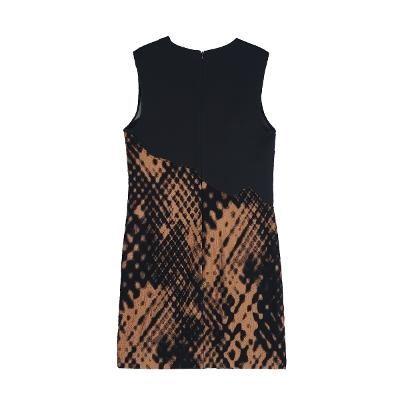 pattern divided dress black