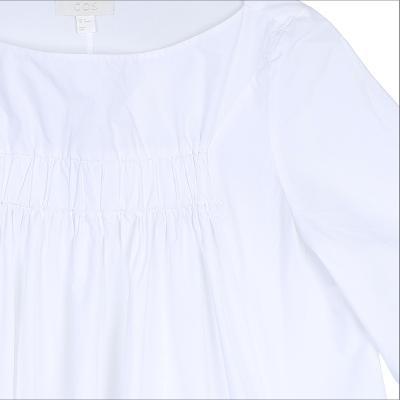 shirring dress white
