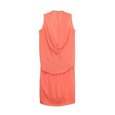 gold tape neckline dress orange