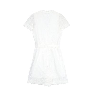 lace wrap mini dress white