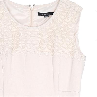 Shoulder and chest lace layered dress ivory