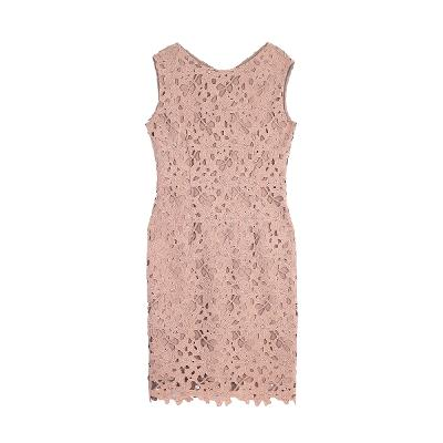 floral pattern lace sleeveless dress brown