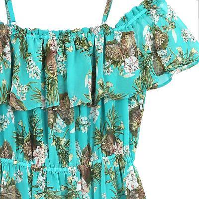 tropical off-shoulder dress green