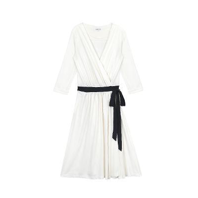 black ribbon belt point wrab dress white