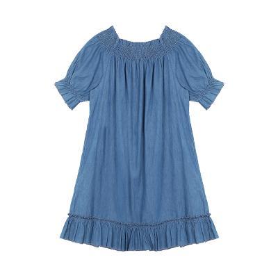 denim shirring dress blue