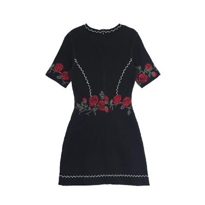 rose embroidery dress black