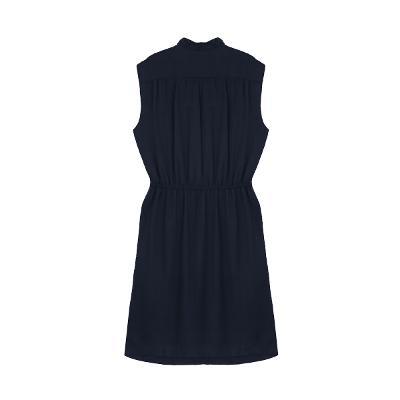 shirring sleeveless dress navy