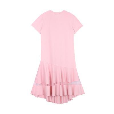 lined ruffle long dress pink2
