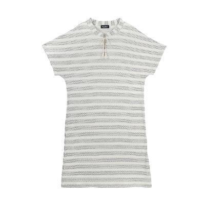 tassel point stripe dress black2