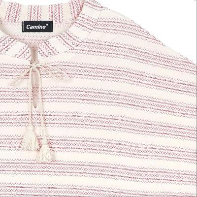 tassel point stripe dress red2