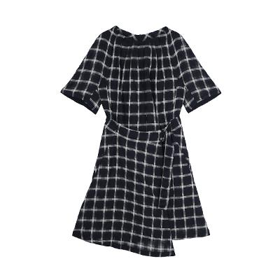check pattern wrap dress black