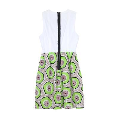 sleeveless geometry pattern dress multi