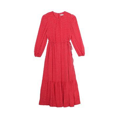 dot pattern long dress red