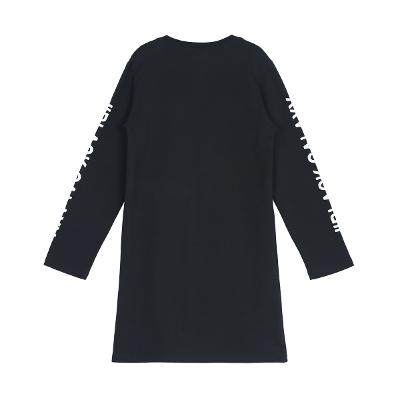 lettering sleeve casual dress