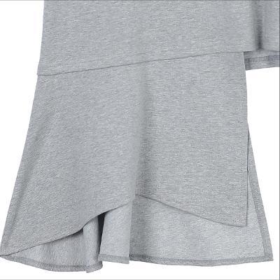 unbalance flare dress gray