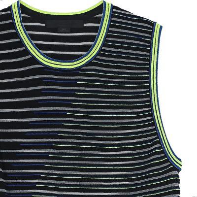 fluorescent line detail sleeveless dress balck