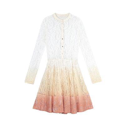 gradation lace dress white