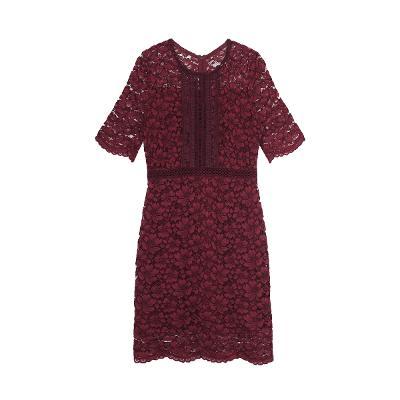 floral lace dress burgundy