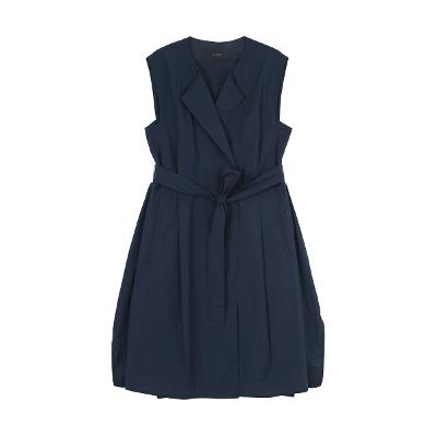 sleeveless collar dress navy