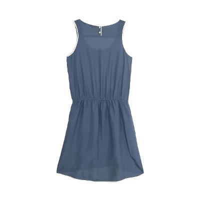 white taping sleeveless dress
