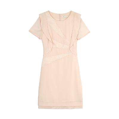 ruffle lace detail dress pink