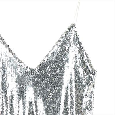 spangle mini dress silver