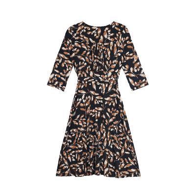leaf pattern wrap dress